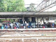 Mumbai local train platform Royalty Free Stock Photo