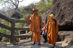 Buddhist in the Ellora caves in Mumbai India. royalty free stock photography