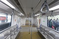 Mumbai Metro train empty from inside. Stock Image