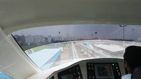 Mumbai Monorail leaving the station. Comfortable, modern , fast, new & air conditioned way of transport in Mumbai India. stock video footage