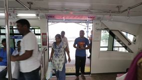 Mumbai Monorail  the station, people entering in the mono rail. stock video footage