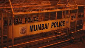 Mumbai policja ono Fechtuje się Fotografia Stock