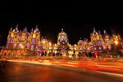 Mumbai's Chatrapati Shivaji Terminus illuminated at night with copy space Royalty Free Stock Photos