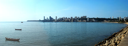 Mumbai's skyline with Chowpatty and Arabian Sea. Copy Space. Stock Image