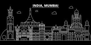 Mumbai-Schattenbildskyline Indien- - Mumbai-Vektorstadt, indische lineare Architektur, Gebäude Mumbai-Reiseillustration lizenzfreie abbildung