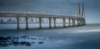 Mumbai sea link during monsoon season. Iconic sea link in Mumbai connects the city between north and south. This picture is taken during the monsoon season with Royalty Free Stock Photography