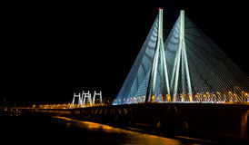 Mumbai sea link at night. The iconic sea link in Mumbai comes alive at night and is a spectacle to behold Royalty Free Stock Photography