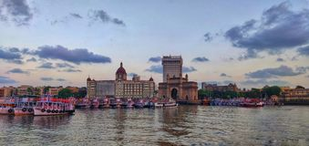 Mumbai shoreline, appolo bunder, gateway of India, taj mahal palace, boats, sea, arabian sea, colaba stock photography