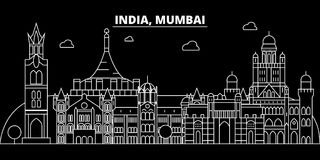 Mumbai silhouette skyline. India - Mumbai vector city, indian linear architecture, buildings. Mumbai travel illustration. Mumbai silhouette skyline. India Royalty Free Stock Images