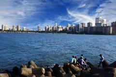 Mumbai Skiline. Seafront Mumbai India skyline over blue sky stock photography