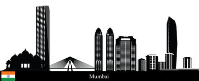Mumbai skyline. Mumbai city skyline india with tower and temple Royalty Free Stock Image