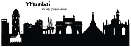Mumbai Skyline Cityscape Silhouette. Vector illustration of the Mumbai, India, cityscape skyline in silhouette with historical and famous landmarks Stock Image