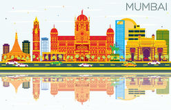 Mumbai Skyline with Color Buildings, Blue Sky and Reflections. Vector Illustration. Business Travel and Tourism Concept with Modern Architecture. Image for Royalty Free Illustration