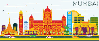 Mumbai Skyline with Color Buildings and Blue Sky. Vector Illustration. Business Travel and Tourism Concept with Modern Architecture. Image for Presentation Royalty Free Stock Photos