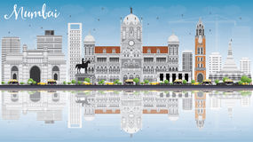 Mumbai Skyline with Gray Landmarks, Blue Sky and Reflections. Vector Illustration. Business Travel and Tourism Concept with Historic Buildings. Image for Royalty Free Stock Image
