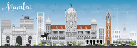 Mumbai Skyline with Gray Landmarks and Blue Sky. Vector Illustration. Business Travel and Tourism Concept with Historic Buildings. Image for Presentation Royalty Free Stock Photo