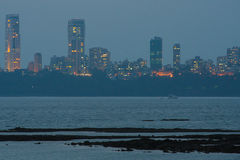 Mumbai skyline at night - viewpoint from marine drive Royalty Free Stock Image