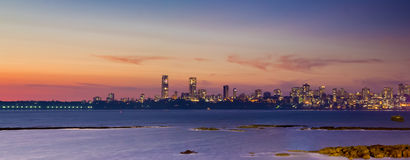 Mumbai Skyline. View as seen from the Marine Drive in Mumbai royalty free stock images
