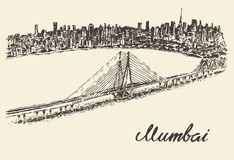 Mumbai skyline vintage vector illustration sketch. Mumbai skyline vintage vector engraved illustration hand drawn sketch Royalty Free Stock Photography