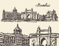 Mumbai skyline vintage vector illustration sketch. Mumbai skyline vintage vector engraved illustration hand drawn sketch Stock Image