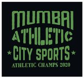 Mumbai sport t-shirt design. College sport team style typography for poster, t-shirt or print Stock Photos