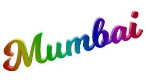 Mumbai-Stadt-Name kalligraphisches 3D machte Text-Illustration gefärbt mit RGB-Regenbogen-Steigung Lizenzfreies Stockbild
