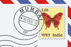 Mumbai stamp. Letter from India - postage stamp and post mark from Mumbai. Indian mail Royalty Free Stock Photo