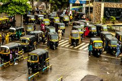 Mumbai Thane, India - August 25 2018. Tuk tuk rickshaw waiting at main square in Thane, India one of the major cities in the India. Mumbai Thane, India - August royalty free stock photos