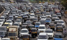 Mumbai Traffic. Like Mumbai, there are many Indian cities that drive citizens crazy with traffic congestion. While it is very common to get stuck for 3-3.5 hours Royalty Free Stock Photo