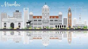 Mumbaihorizon met Gray Landmarks, Blauwe Hemel en Bezinningen stock illustratie