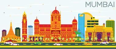 Mumbaihorizon met Kleurengebouwen en Blauwe Hemel royalty-vrije illustratie