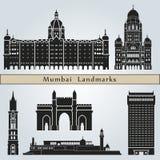 Mumbaioriëntatiepunten en monumenten stock illustratie