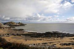 Mumbles lighthouse and Bracelet Bay Royalty Free Stock Image