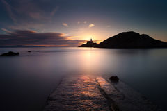 Mumbles lighthouse at dawn Stock Image