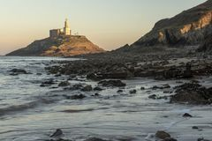 Mumbles Lighthouse landscape at dusk. South Wales royalty free stock photography