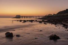 Mumbles Pier at dawn , South Wales. Mumbles Pier at dawn , Swansea, South Wales royalty free stock photo