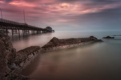 Mumbles pier at sunset Royalty Free Stock Photography