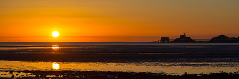 Mumbles sunrise panorama Stock Photography
