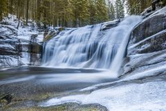Mumlava Waterfall - Nice waterfall in Harrachov. Mumlava falls are close to the central parking as well as the center of Harrachov Royalty Free Stock Image