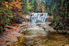 Mumlava Waterfall in Autumn Forest Royalty Free Stock Photo