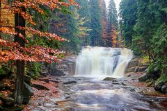 Mumlava waterfalls in autumn. Mumlava waterfall in colorful autumn, Czech Republic Royalty Free Stock Images