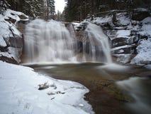Mumlava Waterfall, Krkonose Mountains. Winter view of Mumlava Waterfall in Krkonose National Park, Czech Republic Royalty Free Stock Images