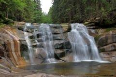 Mumlava waterfall. Spring in Krkonose`s Czech Republic Royalty Free Stock Photography