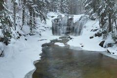 Mumlava waterfall in winter Stock Photos