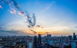 Mummel Noi Cityscape i solnedgång Royaltyfri Fotografi