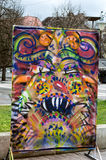 Mummels mask on canvas. Picture of colourful mummers mask Royalty Free Stock Photography