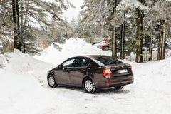 Skoda Octavia in winter parking Royalty Free Stock Images