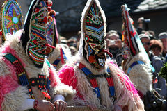 Mummer mask and costume. Mummer masks from Bulgaria. Mummers are creatures who chase away evil and help people start the year healthy. This is pagan reserved to Royalty Free Stock Images