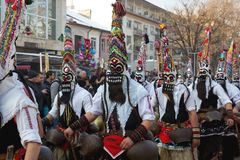 Mummers mascherati Surva Bulgaria Immagine Stock