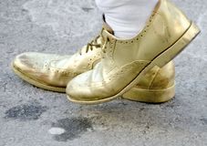 Mummers Parade Philadelphia. Iconic golden slippers in the Philadelphia Mummers Parade on New Years Day. The song O Dem Golden Slippers is a famous favorite Stock Photo